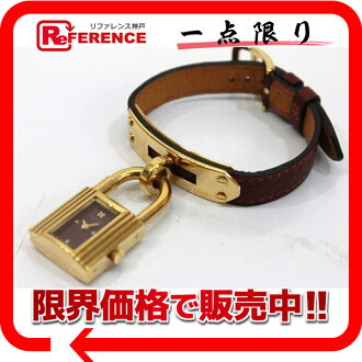 HERMES Kelly watch Lady's watch quartz rouge Ashe Bordeaux clockface W 刻 》 fs3gm for 《
