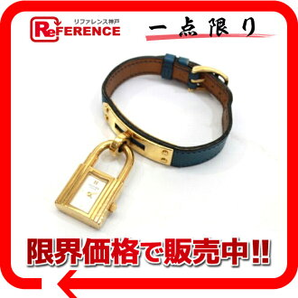 HERMES Kelly watch Lady's watch quartz blue gold metal fittings white clockface クシュベル Z 刻 》 fs3gm for 《
