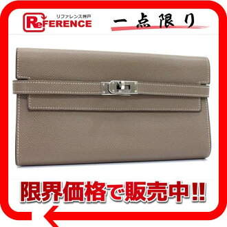 Two HERMES Kelly wallets fold long wallet エプソンエトープシルバー metal fittings N 刻 》 fs3gm 02P05Apr14M for 《