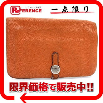 "Hermes 2 fold wallet ""Dogon GM"" slope Orange silver hardware with coin purse H engraved ""response.""-fs3gm"