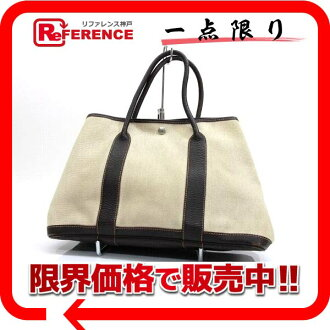 Hermes garden party MM-tote bags towel Ashe Marron G ticking? s support» 02P05Apr14M