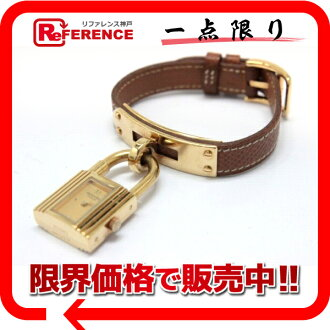 HERMES Kelly watch Lady's watch quartz gold gold metal fittings クシュベル X 刻 》 fs3gm for 《