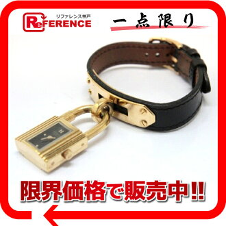 HERMES Kelly watch Lady's watch quartz boxcalf black gold metal fittings A 刻 》 fs3gm for 《