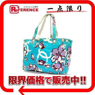 CHANEL coating canvas flower vinyl tote bag blue system 《 correspondence 》 fs3gm