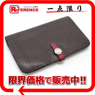 "Hermes two fold wallet ""Dogon GM"" bi-color トリヨンクレマンス chocolate x Rouge silver bracket L engraved with coin purse ""response."""