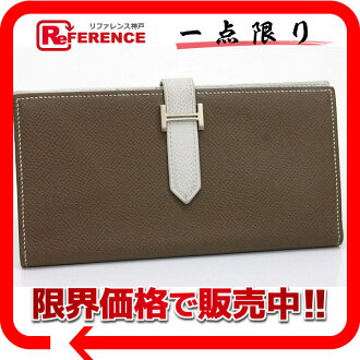 "HERMES Bifold Wallet ""Bearn Souffle"" Epsom Leather Etoupe and White/Silver Metal HW"