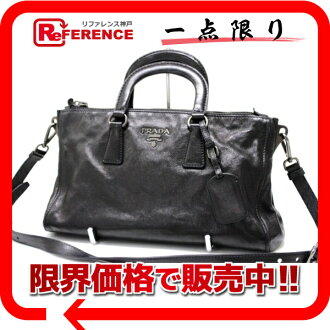 PRADA leather 2WAY handbag black 》 02P05Apr14M for 《