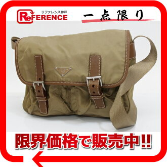 PRADA nylon X leather slant credit shoulder bag brown X beige system 》 02P05Apr14M for 《