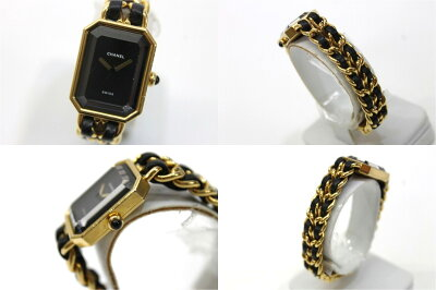 【CHANEL】シャネルプルミエールレディース腕時計Lゴールド×ブラッククオーツ【中古】【楽ギフ_包装】《あす楽対応》【送料無料】