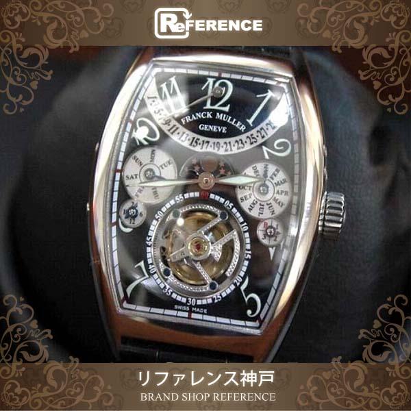 FRANCK MULLER フランクミュラー トゥールビヨンパーペチュアルカレンダー メンズ腕時計 SS クロコ革ベルト 手巻き 7880TQP 【中古】 0601楽天カード分割