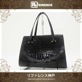 HERMES Crocodile Kisslock Hand Bag Black