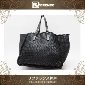 BOTTEGA VENETA Intrecciato Tote Bag with Pouch Lambskin Leather Black 261506