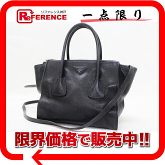 PRADA GLACE'CALF 2Way Hand Bag Black B2625M