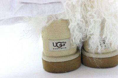 UGGaustraliaアグオーストラリアウィメンズファー付きクラシックショートブーツ6ベージュ美品【中古】KK