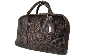 Prada NAPPA CHEVRON (ナッパシェブロン) antique handbags FUMO (hum) BL0323