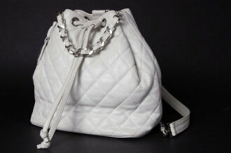 Chanel caviar skin quilted DrawString Backpack White