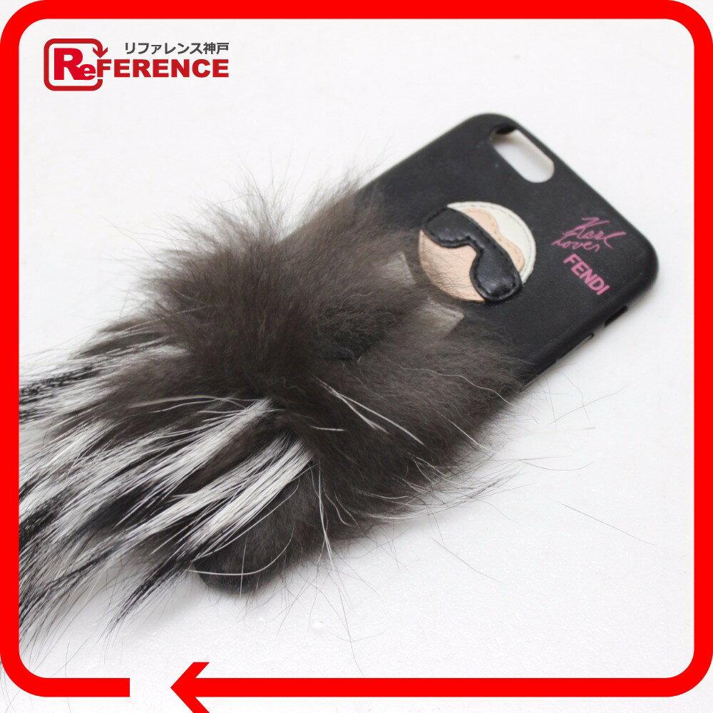 FENDI フェンディ iphone 6用 スマートフォンケース カリート カール・ラガーフェルド iPhoneケース レザー/ファー【中古】