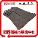 HERMES エルメス 手袋 ファッション小物 グローブ ラムスキン ブラウン メンズ【中古】