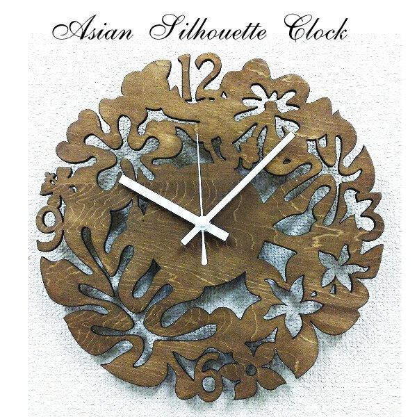 掛時計 アジアン 掛け時計 シルエット クロック【ポイント10倍】