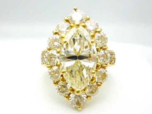 K18×マーキースダイヤモンド4.01ct(VLYVVS2)×ダイヤモンド合計3.07ct ゴールドリング レディース ジュエリー 極極稀