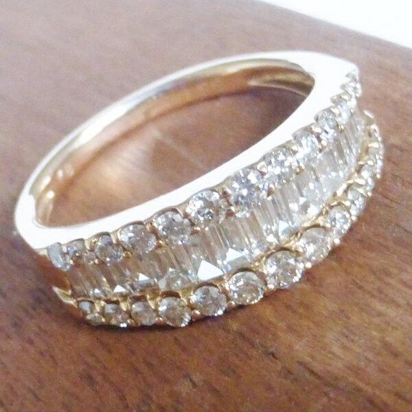 バゲットダイヤモンドリング 1.00ct×K18PG 百貨店外商への提供品 卸直営価格
