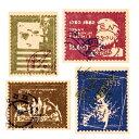 4枚【ラッピングシール】外国の切手風シール(4柄)ギフトステッカー プレゼントギフトのデコレーション