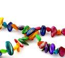 貝殻製のナチュラルビーズ140個入【シェルビーズ】(ミックスカラー)アクセサリー材料サイズ6〜8mm他/140個入