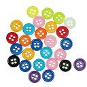 【ミニボタン】30個入(4つ穴)ポップボタンプラスチックボタン(カラフルミックスアソート)ファンシーボタン/9mm(30個)