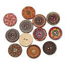 木のボタン100個【ウッドボタン】(エスニックプリント)アジアン雑貨のパーツにも♪20mm/ミックスアソート100個入