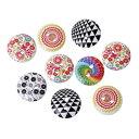 ウッドボタン10個(ホワイト地+ミックス模様)ミックスカラーセット/プリントボタン木製ボタン手芸資材(10個入)15mm