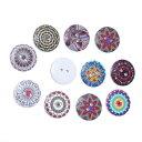 ウッドボタン100個貝(ホワイト地+グラフィックスデザイン)ミックスカラーセット/プリントボタン木製ボタン手芸資材(100個入)20mm