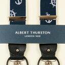 ALBERT THURSTON アルバートサーストン サスペンダー メンズ Y型 ネイビー色 マリン柄 英国製 サーストン ブランド ブレイシス 2411-5【送料無料】【楽ギフ_包装】