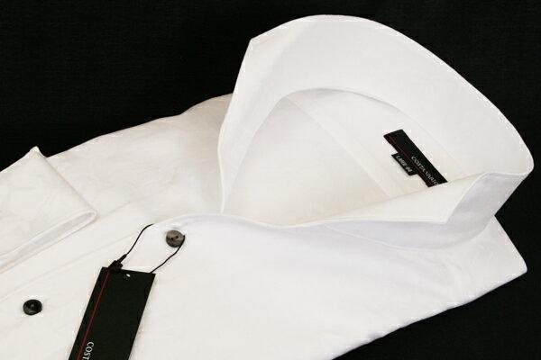 イタリアンスタンドカラーシャツ 白 ホワイト ジャガード生地 花模様織柄 COSTA VARIO 日本製 スタンドカラーシャツ ワイシャツ シャツ メンズ 紳士 男 男性用 GJD543-200【送料無料】【あす楽対応】