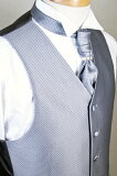 阿斯科特正式和泰国 - 最佳及Fomarubesutosetto - 首席集(围巾环)维生素E - AS36 - 灰色;[【フォーマルベストセット 】フォーマルベスト&アスコットタイ&チーフセット(スカーフリング付) VEST VE-AS36グレー