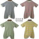 OCEAN&GROUND(オーシャンアンドグラウンド) コンビ肌着 Border (60) ベビー 子供 綿100 男の子 女の子