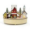 ショッピング電池式 ウッドライトオルゴール ステーションクリスマス Xmas Christmas 木製 フィギュア 置物 インテリア 装飾 北欧 雑貨 カントリー ナチュラル シンプル 電池式 オルゴール ネジ式オルゴール ミュージカル