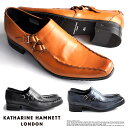 【サイズ交換1回無料】キャサリンハムネット 靴 メンズ ビジネスシューズ ビジネス靴 革靴 紳士靴 仕事靴 紐なし靴 本革 スリッポン ベルトストラップ 紐なし 走れる 歩きやすい ウォーキング 通気性 通勤 KATHARINE HAMNETT LONDON 31554 SET