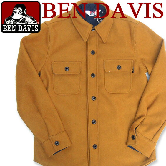 BEN DAVIS シャツジャケット ベンデイビス シャツジャケット ★ ベンデービス 秋冬のお洒落なアウター。シャツタイプのデザインでカジュアルに着こなせるメルトンアイテム。大人カジュアルに合わせたいアウターです。⇒BEN-208