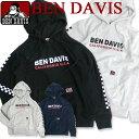 BEN DAVIS パーカー ベンデイビス パーカー スウェット 両袖にチェッカーフラッグ柄のプリン
