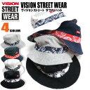 VISION 帽子 VISION STREET WEAR サファリハット メンズ ★ ヴィジョンストリートウェア ハット フロントのホイール柄の帯とワンポイントになったブランドタグがお洒落。リバーシブルで使えるカジュアルなサファリハット。⇒VISION-306