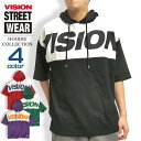 VISION パーカー 切り替え 5分袖パーカー ビッグシルエット メンズ ビジョンストリートウェア ロゴプリント トップス VISION STREET WEAR 配色デザイン ストリートファッション ヴィジョン VISION-038