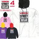 VISION パーカー ヴィジョン プルオーバーパーカー ゆったりめ メンズ Tシャツ ビジョン プリント 配色パーカー ブランドロゴ カジュアルコーデ ストリート系ファッション VISION STREET WEAR VISION-141