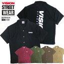 VISION シャツ 半袖 ヴィジョン オープンカラーシャツ ロゴプリント ヴィジョンストリートウェア 開襟シャツ VISION STREET WEAR ロゴ バックプリント ストリート ファッション カジュアル コーデ トップス オーバーサイズ VISION-193