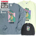 VISION Tシャツ 恐竜 プリント 長袖Tシャツ ワイドシルエット ロンT ヴィジョンストリートウェア スケボー イラスト ワイドT クルーネック VISION STREET WEAR ビッグシルエット ストリート カジュアル ユニセックス トップス VISION-233