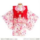 1歳着物レンタル ホワイトピンクにかわいい桜模様 jbk01...