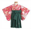 1歳着物レンタル 赤地絞り柄に緑袴 jbk038【1歳女児/...