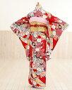 ジュニア着物レンタル 赤地に古典慶花の装い jk038【女の...