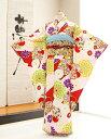 ジュニア着物レンタル 「九重」ブランドピンクに古典慶びの花輪...
