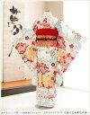 ジュニア着物レンタル 「ぷちぷり」ブランド 白地に古典慶花の...