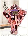 ジュニア着物レンタル 「ゆめかんざし」ブランド 紅白ストライプ祝華矢持 jk091【女の